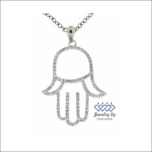 Hamsa Hand Pendant Diamond Fancy Jewelry